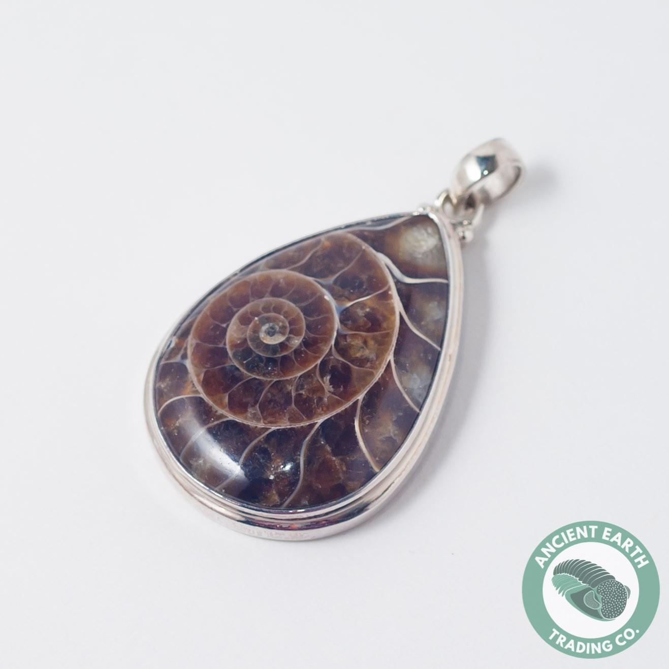 teardrop ammonite fossil pendant 38 mm 925 sterling