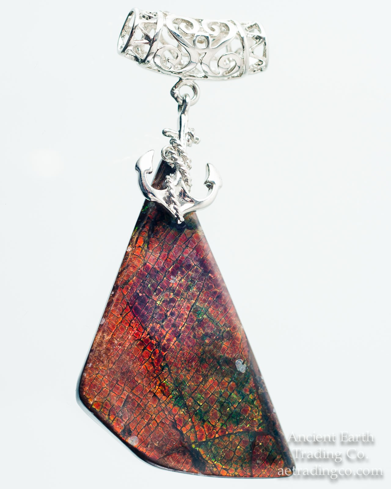 Freeform Sailboat Anchor Ammolite Gemstone Pendant
