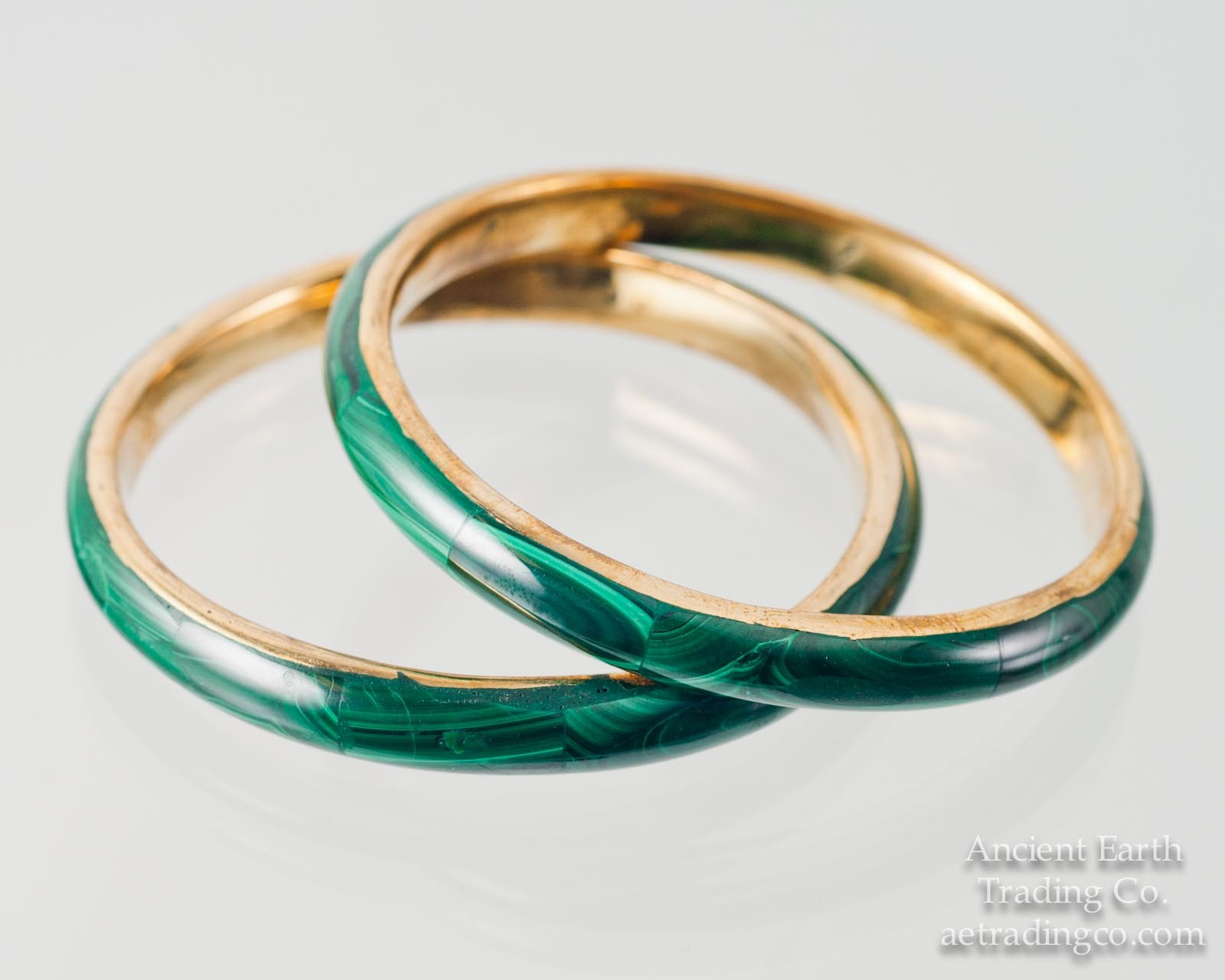 Vintage Malachite + Brass Handcrafted Bangle Bracelet from the Congo