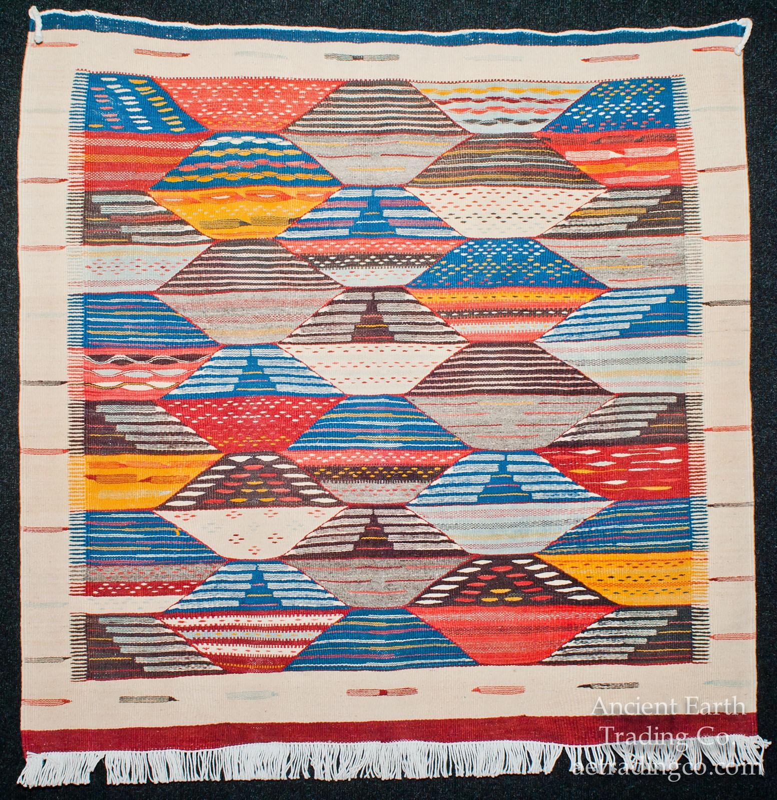 Beautiful Zanafi Tribal Reversible Wool Flatweave Throw Rug + Carpet