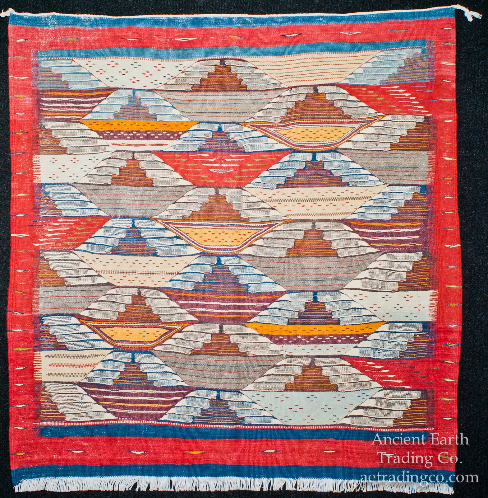 Red Blue Zanafi Tribal Reversible Wool Flatweave Throw Rug + Carpet