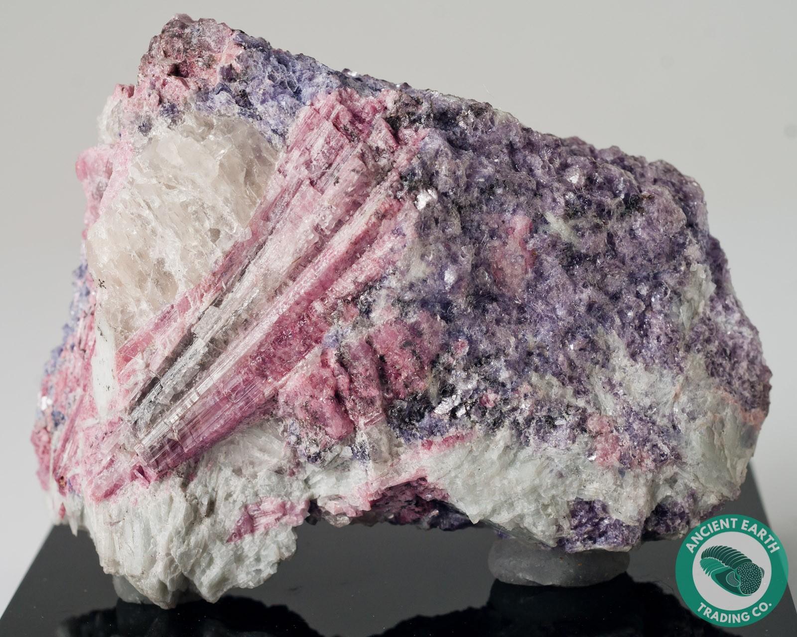 Pink Tourmaline on Purple Lepidolite - Oceanview Mine, California