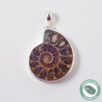 X-Large Ammonite Fossil Pendant 36 mm .925 Sterling Silver