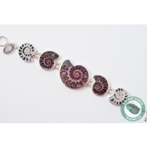 230 mm 5 Ammonite Fossil Bracelet .925 Sterling Silver