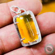 25mm Dominican Amber Insect Fossil Pendant With a Fly + Gnat + Beetle set in Sterling Silver