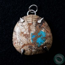 1.45 in Polished Fossil Sand Dollar Silver Pendant from California Inlaid with Turquoise and Copper