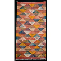 Colorful Runner Zanafi Tribal Reversible Wool Flatweave Throw Rug + Carpet