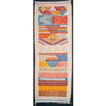 Runner Zanafi Tribal Reversible Wool Flatweave Throw Rug + Carpet