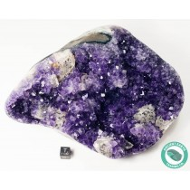 7.56 in Large Amethyst Cluster + Calcite Crystal Polished Sides - Uruguay