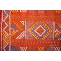 Red Moroccan Sabra Silk Flatweave Kilim