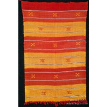 Orange + Red Moroccan Sabra Silk Flatweave Rug