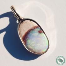 22 mm Blue Green Ocean Scene Opal Pendant from Idaho