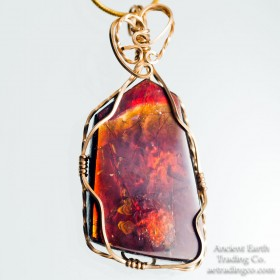 Alive with Fire - 14k Gold Wrapped Ammolite Gemstone Pendant + Chain