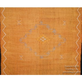 Gold Moroccan Sabra Silk Tribal Flat Weave Throw