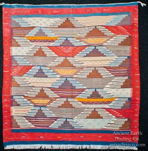 Red Blue Zanafi Tribal Reversible Wool Flatweave Throw Rug + Carpet