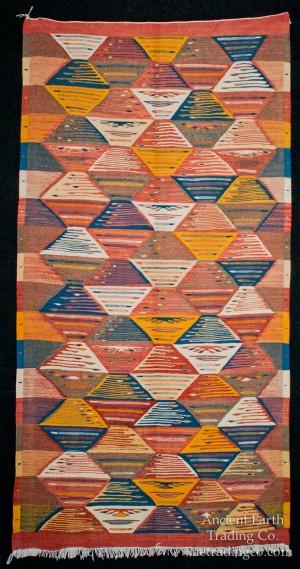 Colorful Runner Zanafi Tribal Reversible Wool Flatweave Throw Rug + Carpet