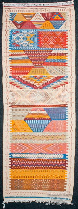 Runner Zanafi Tribal Reversible Wool Flatweave Throw Rug + Carpet