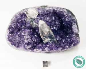 6.09 in Amethyst Cluster + Calcite Crystal Polished Sides - Uruguay