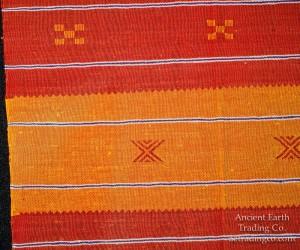 Red + Orange Moroccan Sabra Silk Flatweave Rug