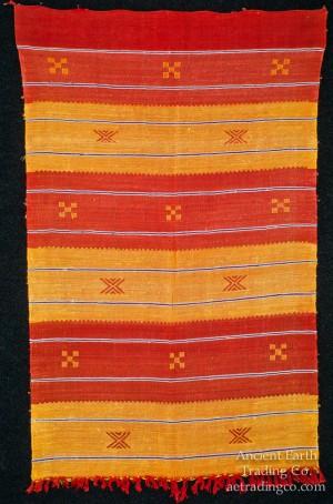 Orange + Red Moroccan Sabra Silk Flatweave Rug
