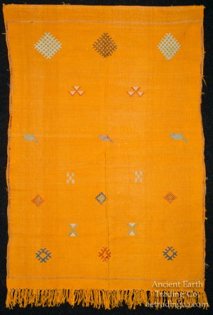 Yellow Moroccan Sabra Silk Flat Weave Carpet with Camels