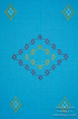 Turqouise Moroccan Sabra Silk Tribal Flat Weave Throw